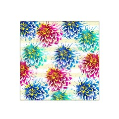 Colorful Dahlias Satin Bandana Scarf