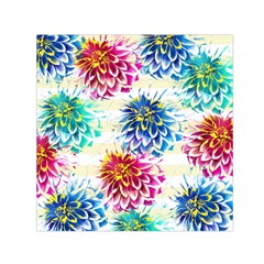Colorful Dahlias Small Satin Scarf (Square)