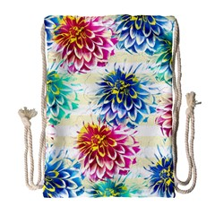 Colorful Dahlias Drawstring Bag (Large)