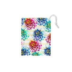 Colorful Dahlias Drawstring Pouches (XS)