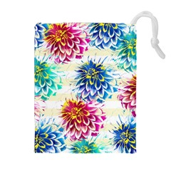 Colorful Dahlias Drawstring Pouches (Extra Large)