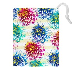 Colorful Dahlias Drawstring Pouches (XXL)