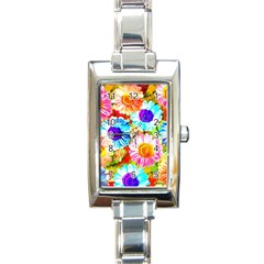 Colorful Daisy Garden Rectangle Italian Charm Watch by DanaeStudio