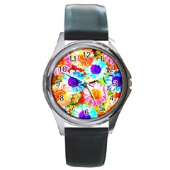 Colorful Daisy Garden Round Metal Watch by DanaeStudio