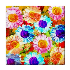 Colorful Daisy Garden Tile Coasters by DanaeStudio