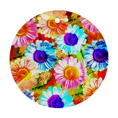 Colorful Daisy Garden Ornament (round)  by DanaeStudio