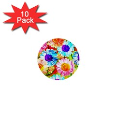 Colorful Daisy Garden 1  Mini Buttons (10 Pack)  by DanaeStudio