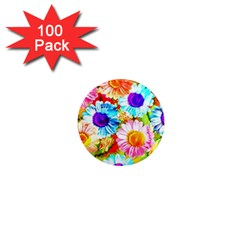 Colorful Daisy Garden 1  Mini Magnets (100 Pack)  by DanaeStudio