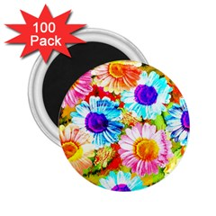 Colorful Daisy Garden 2 25  Magnets (100 Pack)  by DanaeStudio