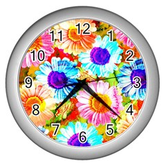 Colorful Daisy Garden Wall Clocks (silver)  by DanaeStudio
