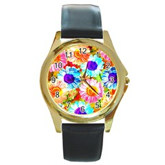Colorful Daisy Garden Round Gold Metal Watch by DanaeStudio