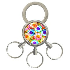 Colorful Daisy Garden 3 Ring Key Chains by DanaeStudio
