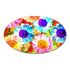 Colorful Daisy Garden Oval Magnet by DanaeStudio