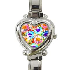 Colorful Daisy Garden Heart Italian Charm Watch by DanaeStudio