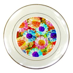 Colorful Daisy Garden Porcelain Plates by DanaeStudio
