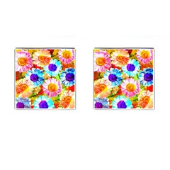 Colorful Daisy Garden Cufflinks (square) by DanaeStudio