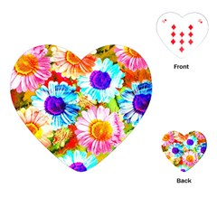 Colorful Daisy Garden Playing Cards (heart)  by DanaeStudio