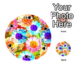 Colorful Daisy Garden Playing Cards 54 (round)  by DanaeStudio