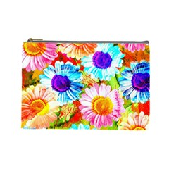 Colorful Daisy Garden Cosmetic Bag (large)  by DanaeStudio