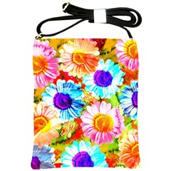 Colorful Daisy Garden Shoulder Sling Bags by DanaeStudio
