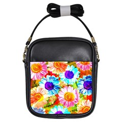 Colorful Daisy Garden Girls Sling Bags by DanaeStudio