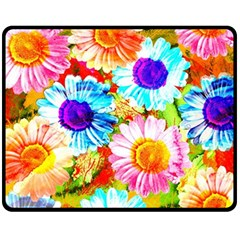 Colorful Daisy Garden Fleece Blanket (medium)  by DanaeStudio
