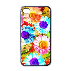 Colorful Daisy Garden Apple Iphone 4 Case (black) by DanaeStudio