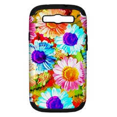 Colorful Daisy Garden Samsung Galaxy S Iii Hardshell Case (pc+silicone) by DanaeStudio