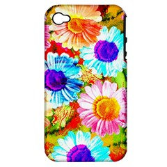 Colorful Daisy Garden Apple Iphone 4/4s Hardshell Case (pc+silicone) by DanaeStudio