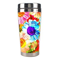 Colorful Daisy Garden Stainless Steel Travel Tumblers by DanaeStudio