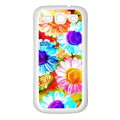 Colorful Daisy Garden Samsung Galaxy S3 Back Case (white) by DanaeStudio