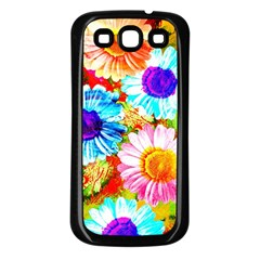 Colorful Daisy Garden Samsung Galaxy S3 Back Case (black) by DanaeStudio