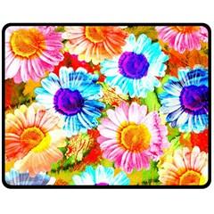 Colorful Daisy Garden Double Sided Fleece Blanket (medium)  by DanaeStudio