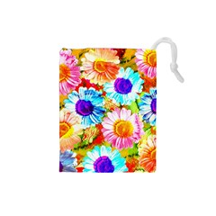 Colorful Daisy Garden Drawstring Pouches (small)  by DanaeStudio