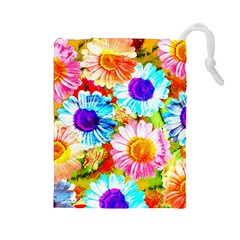 Colorful Daisy Garden Drawstring Pouches (large)  by DanaeStudio