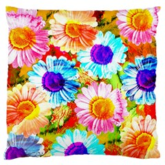 Colorful Daisy Garden Large Flano Cushion Case (two Sides) by DanaeStudio