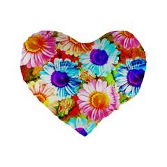 Colorful Daisy Garden Standard 16  Premium Flano Heart Shape Cushions by DanaeStudio