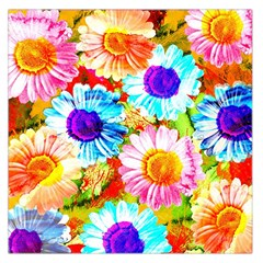 Colorful Daisy Garden Large Satin Scarf (square) by DanaeStudio