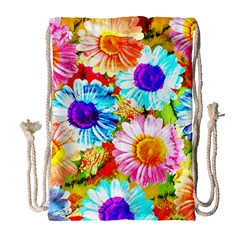 Colorful Daisy Garden Drawstring Bag (large) by DanaeStudio