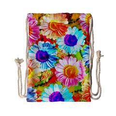 Colorful Daisy Garden Drawstring Bag (small) by DanaeStudio
