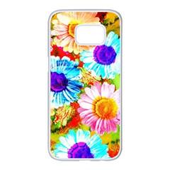 Colorful Daisy Garden Samsung Galaxy S7 Edge White Seamless Case by DanaeStudio