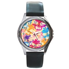 Colorful Pansies Field Round Metal Watch by DanaeStudio