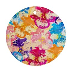 Colorful Pansies Field Ornament (Round)