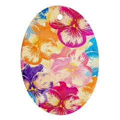 Colorful Pansies Field Ornament (Oval)