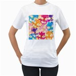 Colorful Pansies Field Women s T-Shirt (White) (Two Sided)