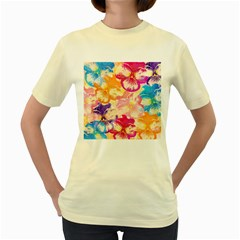 Colorful Pansies Field Women s Yellow T-Shirt