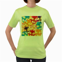 Colorful Pansies Field Women s Green T Shirt by DanaeStudio