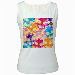 Colorful Pansies Field Women s White Tank Top