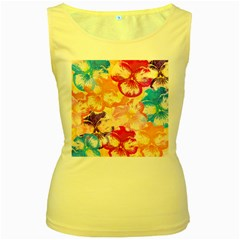 Colorful Pansies Field Women s Yellow Tank Top