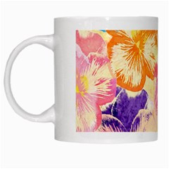 Colorful Pansies Field White Mugs by DanaeStudio